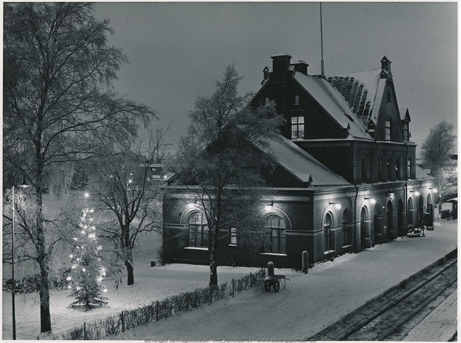 Umeå stationshus vinter 1950